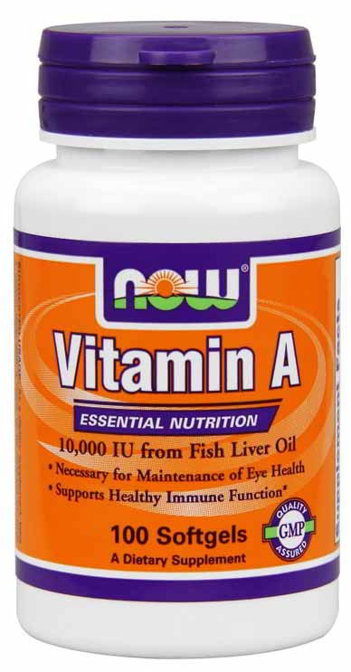 Vitamin A 10,000 IU, 100 Softgels - Click Image to Close