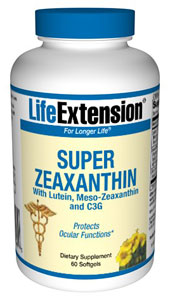 Super Zeaxanthin with Lutein, Meso-Zeaxanthin and C3G, 60 Softge