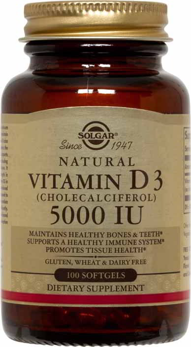 Vitamin D3 (Cholecalciferol) 5000 IU, 100 Softgels