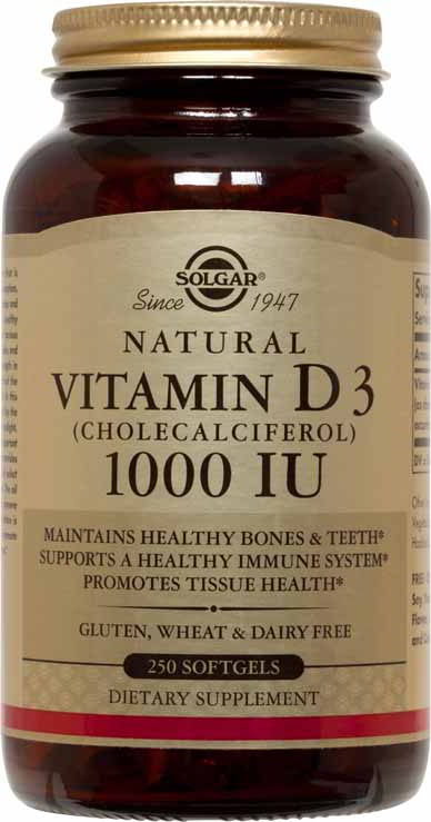 Vitamin D3 (Cholecalciferol) 1000 IU, 250 Softgels